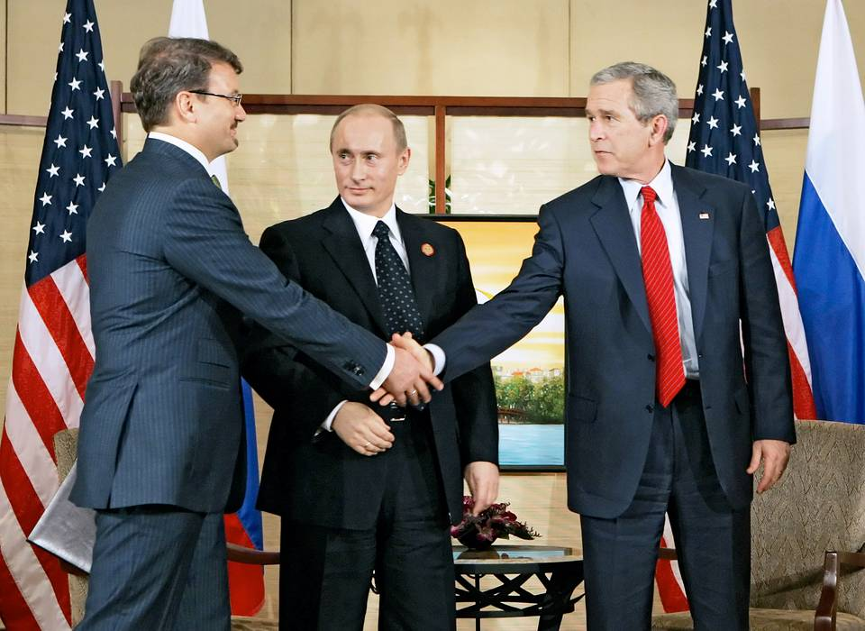 Russia's Economic Development and Trade Minister Herman Gref, Russia's President Vladimir Putin and US President George W. Bush, 2006 Dmitry Astakhov/TASS