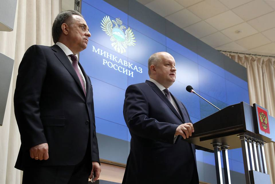Russia's Deputy Prime Minister Vitaly Mutko and Russia's Minister for North Caucasus Affairs Sergei Chebotarev  Vyacheslav Prokofiev/TASS